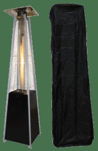 Terrassevarmer med flamme PLUS sort inkl. Cover